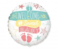 Fóliový balón Welcome sweet baby 18""